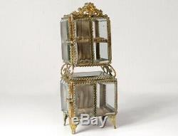 Coffret à bijoux double boîte laiton doré verre biseauté Napoléon III XIXè
