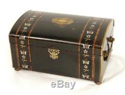Coffret bijoux marqueterie nacre bois noirci laiton Tahan Napoléon III XIXè