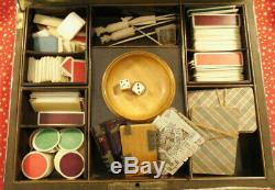 Coffret bois noirci Napoléon III boite jeu Clé jetons cartes, boite bois, XIXe