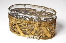 Coffret boîte cristal verre laiton doré feuillage Napoléon III XIXè siècle
