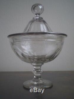 DRAGEOIR ANCIEN CRISTAL SOUFFLE TAILLE XIX°s DECO ART TABLE COUPE SUR PIED
