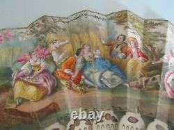 EVENTAIL PEINTURE GOUACHE XIX ANTIQUE hand painted FRENCH FAN 19eme