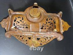 Encrier Bronze Ajouré XIX° Barbedienne Tête Minerve Fonte Ancienne