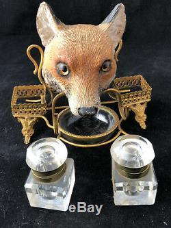Encrier Napoléon III Renard Cristal Laiton Doré XIX Antique Inkwell French Fox