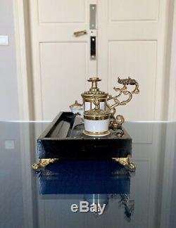 Encrier à pompe Napoléon III Décoration XIX ème Bureau Objet de vitrine