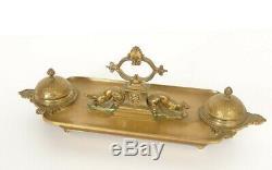 Encrier bronze doré Barbedienne animaux coquilles Napoléon III XIXè
