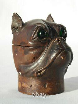 Encrier en bois sculpté, Tête de chien bulldog XIXe siecle, Yeux en sulfure