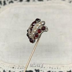 Epingle de cravate ancienne Napoleon III Or Argent Grenats et Perles XIX