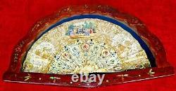 Evantail Isabelin. Os Sculpté. Papier Peint. Avec Cadre Ancien. Espagne. XIX