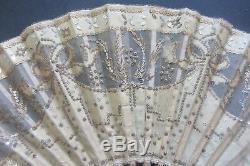 Eventail A Paillettes Fleurs Epoque XIX Eme Antique French Fan Sequins