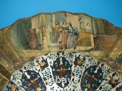 Eventail Gouache Peinture Cartel Nacre XVIII XIX Eme Antique Fan