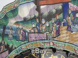 Eventail de bal en laque de chine, Canton XIXe, Napoléon III, Chine soirée