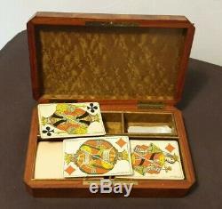 Exceptionnel Coffret Boîte à jeux Cartes Jetons Nacre Marqueterie XIX 19th Box