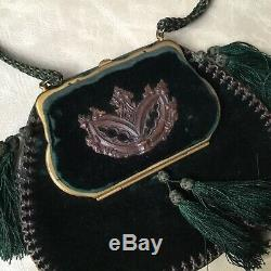 Exceptionnel SAC XIXè NAPOLEON III Passementerie Velours Victorian BAG 19thC