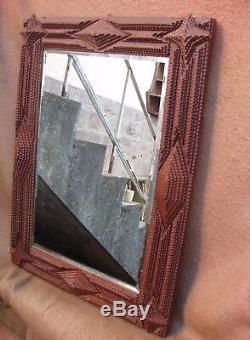 Exceptionnel miroir dit de prisonnier à glace biseautée fin XIXe siècle