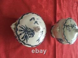 Exceptionnelle ancienne dinette enfant XIXe faïence Choisy Le Roi décor oiseaux