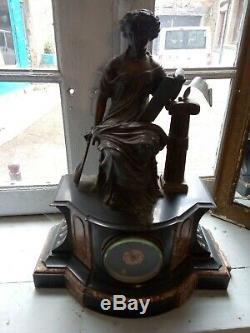 FEMME DEESSE MUSIQUE LYRE / pendule régule et marbre XIX / Napoleon III