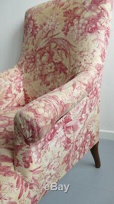 Fauteuil Napoléon III Bien Confortable, époque XIX ème, Tissu Aux Oiseaux, Fleur