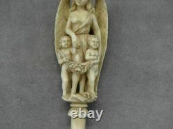 Figurine sculpté Matière noble Dieppe XIX Ange femme Putti Chérubin vers 1900