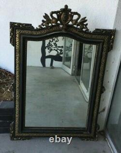 GRAND MIROIR XIXe 19e Style NAPOLEON III Stuc Dore peint noir Blason Mirror Art