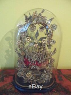 Globe de mariée décor doré et oiseau et miroirs XIX e siecle Napoleon III