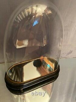 Globe en verre soufflé XIXe Napoléon III sur socle bois noirci