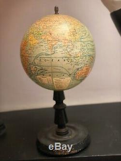 Globe terrestre mappemonde XIXe Napoléon III signé Forest Girard Barrere