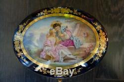 Grand Coffret En Porcelaine Xix° Chateau De Longpre Samson Bleu De Sevres