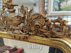 Grand MIROIR de CHEMINEE Fin XIXe 19e Bois Stuc Dore Style NAPOLEON III Mirror