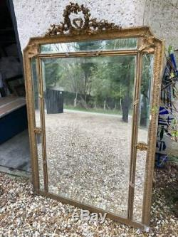 Grand miroir Napoléon III bois doré XIXe