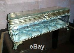 Grande Boite à Bijoux Coffret Verre Gravé XIXè Napoleon III laiton doré