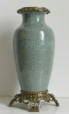 Grande Lampe à pétrole XIXe Chine Asie céramique céladon VASE Napoléon III