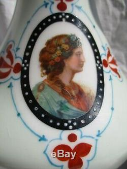 Grande Paire Lampe Petrole Nap III XIX Portrait Femme Medaillon Porcelaine Paris