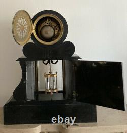 Grande Pendule de Notaire LEFRANC à Essonnes en Marbre et Bronze époque XIXe