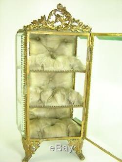 Gros Coffret A Bijoux Napoleon III XIX En Verre Epais Biseaute Et Laiton Ouvrage