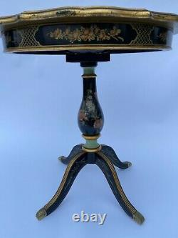 Gueridon XIX Eme Basculant Napoleon III Noir Decor Chinois Peint A La Main L377