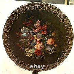 Guéridon tripode Napoléon III Incrustation d'un décor floral en nacre XIX siècle
