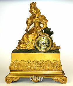 Horloge De Foyer. Bronze. Avec Sonnerie. Style Napoleon Iii. France. XIX