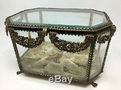 Importante Boite Bijoux Laiton Verre Biseauté 19 th Antique Box XIX Napoleon III