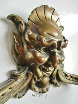 Importante paire d'appliques théâtre XIXe en bronze mascarons Comedia del Arte