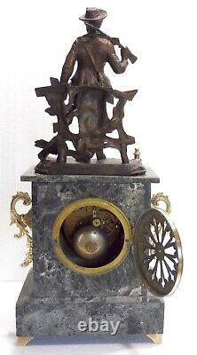 Jolie PENDULE marbre bronze NAPOLEON III XIXè révisée statue régule chasseur
