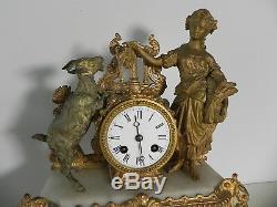 Jolie pendule romantique ancienne ELEGANTE A LA CHEVRE Napoleon III XIXe BOUCHER