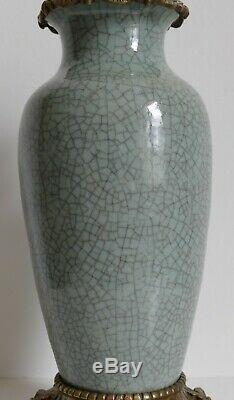 Lampe pétrole XIXe Chine Asie céramique céladon Crackle-Glazed VASE Napoléon III