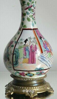 Lampe pétrole porcelaine Bayeux Langlois Chine XIXe Napoléon III cristal gravé