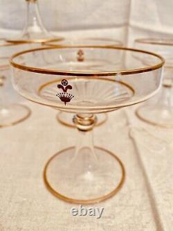 Lobmeyr Rare ensemble 6 coupes à champagne armoriées et estampillées. Mi-XIXe
