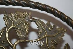 Lustre Napoléon III en Bronze XIX art nouveau gaz feuille vigne raisin billard