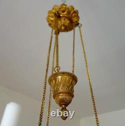 Lustre en BRONZE DORE et CRISTAL rouge d'EPOQUE XIXe lampe de sanctuaire