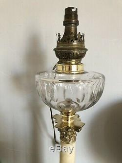MAGNIFIQUE Grande lampe pétrole Onyx Bronze Cristal BACCARAT Napoléon III XIXe