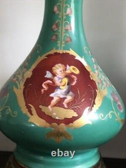 MAGNIFIQUE PAIRE DE 2 LAMPE A HUILE XIX ° Napoleon III VERT ET ROUGE ANGELOT