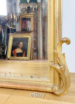 MIROIR DE CHEMINÉE D'ÉPOQUE NAPOLÉON III EN BOIS DORÉ DE 171CM DE HAUT XIXe